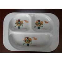 Professional Bulk Dinner Melamine Plastic Plates Three Holes White Color For Hotel