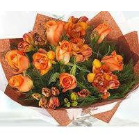 Buy cheap Flowers Orange Roses and Scented Freesias from wholesalers
