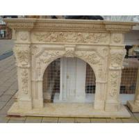 China ODM Design Egyptian Beige Marble Stone Mantel Fireplace For Outdoor on sale
