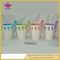 China Ceramic Soup Mug with Lid and Saucer and Spoon Ceramic Embossed Mugs wholesale