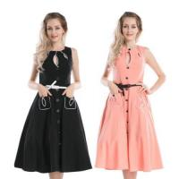 China R1136 New Vintage 1950s 1960s Retro Swing Rockabilly Black Pink Party Tea Dress 6 - 26 on sale