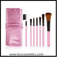 Buy cheap make up brush set with pink PU bag, seven basic brushes from wholesalers