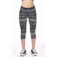 Black And White Tribal Geometrical Line Symbols Printed Slim Elastic Casual Capri Leggings