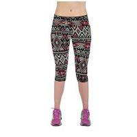 China Yomsong Brand Women Funny Basic Elegant Geometric Tribal Printing Skintight Pliable Capri Leggings wholesale
