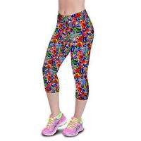 China Crystal Stone Floral Printing Knee-length High Waist Elastic Slim Capri Leggings wholesale