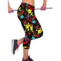 China Trendy Stylish Elastic Waist Sportswear Colorful Wild Flowers Print Skinny Fashion Capri Leggings wholesale