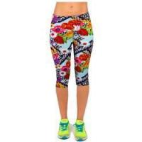 China Salable Funny Calendula Flowers Printed Absorbing Knee-length Capri Leggings wholesale