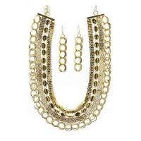 China Assorted Multi Layer Chain Link Necklace Set Gold Tone 1124-031 on sale