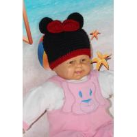 China Mickey Mouse Head Shape Black Knitted Girls Crochet Hats 100% Acrylic Material on sale