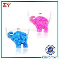 China 2017 new 925 Sterling Silver Synthetic Elephant fire Opal Necklace & Pendant wholesale
