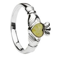 China Sterling Silver Connemara Marble Ladies Claddagh Ring wholesale