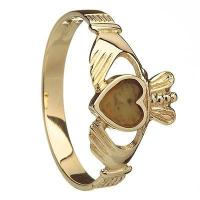 China 10k Yellow Gold Connemara Marble Heart Ladies Claddagh Ring 10mm wholesale