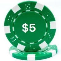 China Promotional Poker Chips Custom Hot Stamped Green Striped Dice Poker Chips wholesale