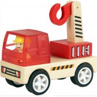 China kids wooden vehicles toy truck crane on sale