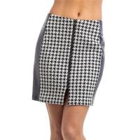 China L2310-Faux Leather Houndstooth Contrast Zip Front Skirt wholesale