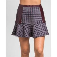 China L2316-Side Contrast Faux Leather Plaid Skirt wholesale