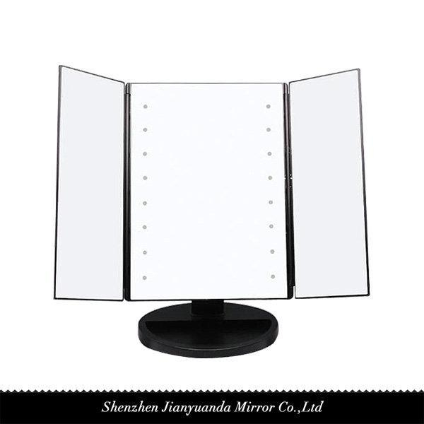 tri fold led vanity mirror 1x magnification of jydmirror. Black Bedroom Furniture Sets. Home Design Ideas