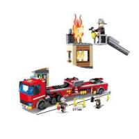 China HSANHE mini red fire fighting truck 400pcs building block toys for boys on sale