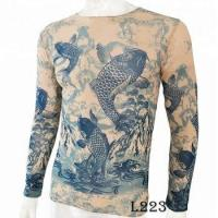 China KaPin wholesale chinese style popular elastic quick dry tattoo fish print t-shirts with long sleeves on sale