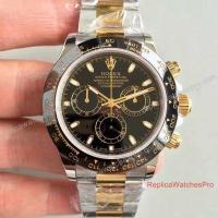 China The Highest Quality Swiss Replica Rolex Daytona Watch 2-Tone Black Face Ceramic Bezel on sale