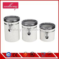 China 3 sets Stainless Steel Canister Set with Airtight Acrylic Lid and Clamp on sale