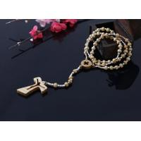 China 5-6mm olive wood rosary with silver plastic beads on sale