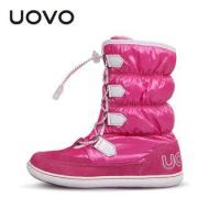 China UOVO mid-calf bungee lacing snow boots waterproof girls boots big boots for girls on sale