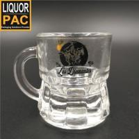Buy cheap Fashion innovative concave bottom durable whisky vodka Italy 25ml shot glass with handle from wholesalers
