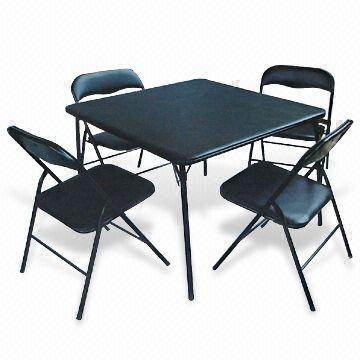 8 ft fold in half table - Quality 5 Piece Folding Metal Table And Chair Set For Sale